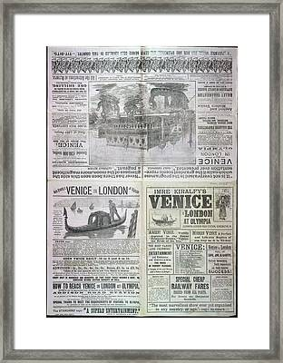 Venice In London At Olympia Framed Print by British Library
