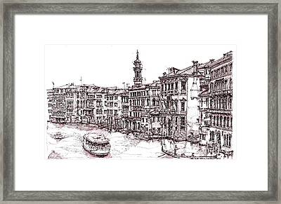 Venice In Pen And Ink Framed Print by Adendorff Design