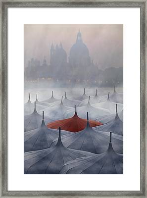 Venice In Rain Framed Print