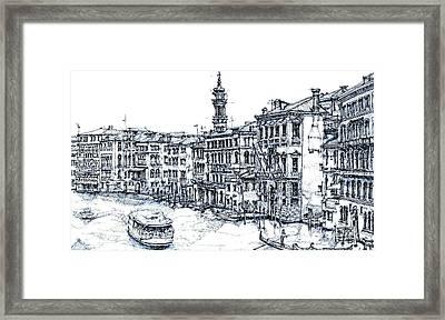 Venice Ink In Blue Framed Print
