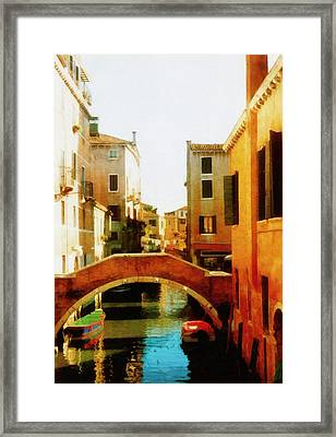 Venice Italy Canal With Boats And Laundry Framed Print