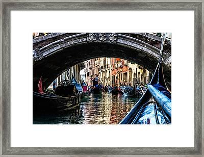 Venice Italy Gondola - Ride Through Canal Framed Print
