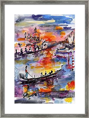 Venice Italy Gondolas Grand Canal Watercolor Framed Print