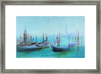 Venice Italy Gondolas With San Giorgio Maggiore Framed Print by Douglas MooreZart