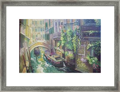Framed Print featuring the painting Venice -italy by Paul Weerasekera