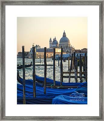 Venice Italy - Santa Maria Della Salute And Gondolas Framed Print by Gregory Dyer