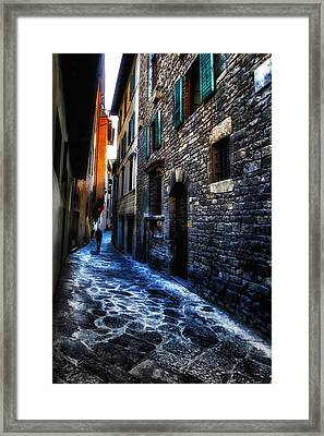 Venice Italy Silhouette - Lonely Walk Framed Print