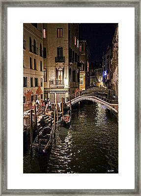Venice Night By The Canal Framed Print