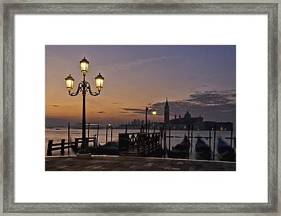 Framed Print featuring the photograph Venice Night Lights by Marion Galt