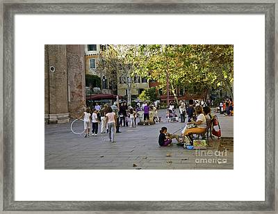 Venice Piazza In The Afternoon Framed Print by Madeline Ellis