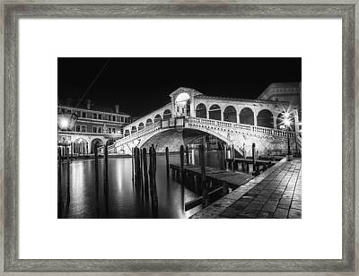 Venice Rialto Bridge At Night Black And White Framed Print