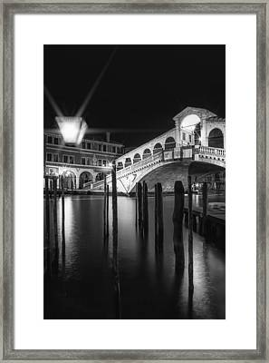 Venice Rialto Bridge At Night In Black And White Framed Print