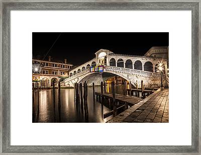 Venice Rialto Bridge At Night Framed Print by Melanie Viola