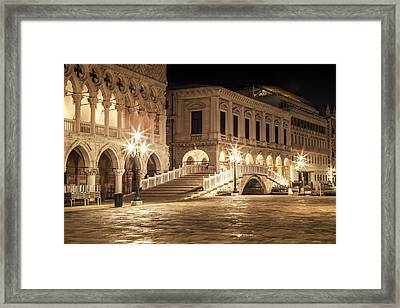 Venice Riva Degli Schiavoni At Night Framed Print
