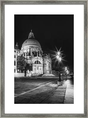 Venice Santa Maria Della Salute Black And White Framed Print by Melanie Viola