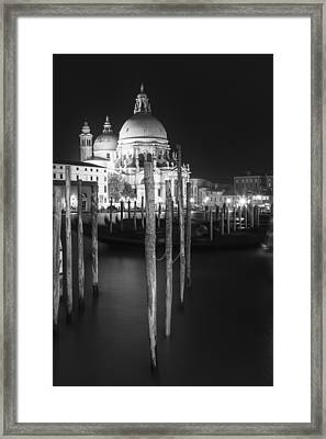 Venice Santa Maria Della Salute In Black And White Framed Print by Melanie Viola