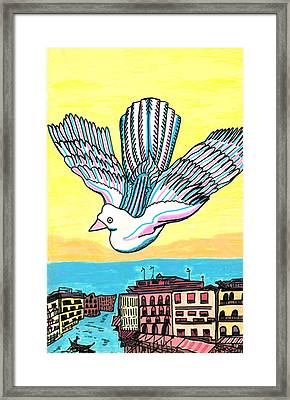 Framed Print featuring the drawing Venice Seagull by Don Koester