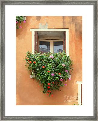 Venice Shutters Flowers Orange Wall Framed Print