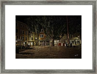 Venice Square At Night Framed Print