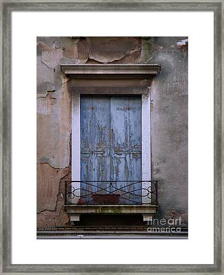 Venice Square Blue Shutters Framed Print