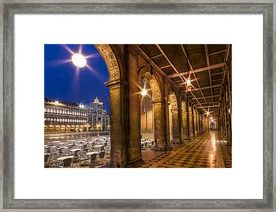 Venice St Mark's Square During Blue Hour Framed Print by Melanie Viola