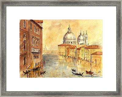 Venice Sunset Framed Print by Juan  Bosco