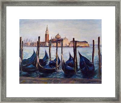 Venice Through The Gondolas Italy Painting Framed Print by Quin Sweetman
