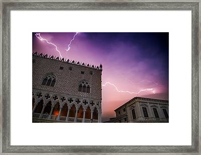 Venice Thunderstorm Over Doge's Palace Framed Print by Melanie Viola