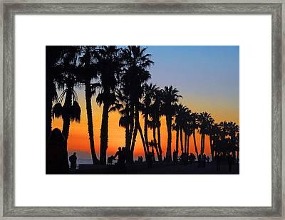 Framed Print featuring the photograph Ventura Boardwalk Silhouettes by Lynn Bauer