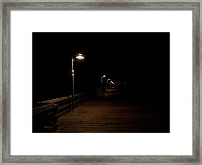 Ventura Pier At Night Framed Print by John Daly