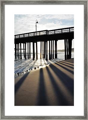 Framed Print featuring the photograph Ventura Pier Shadows by Kyle Hanson