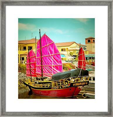 Venture Harbor Dragon Lady  Framed Print by Barbara Snyder