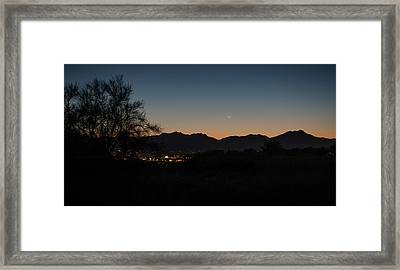 Framed Print featuring the photograph Venus And A Young Moon Over Tucson by Dan McManus