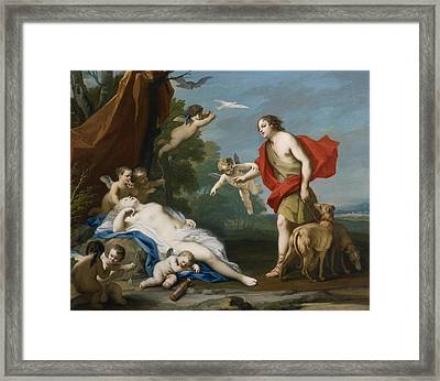 Venus And Adonis Framed Print by Jacopo Amigoni