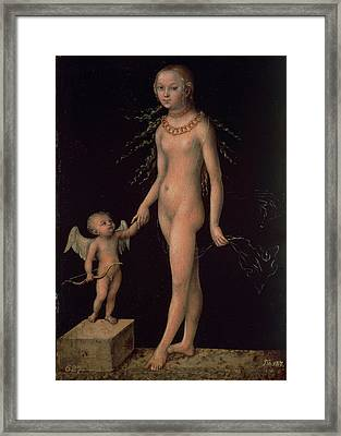 Venus And Cupid, C.1530 Panel Framed Print by Lucas, the Elder Cranach