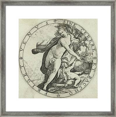 Venus And Cupid, Hendrick Goltzius Framed Print by Hendrick Goltzius