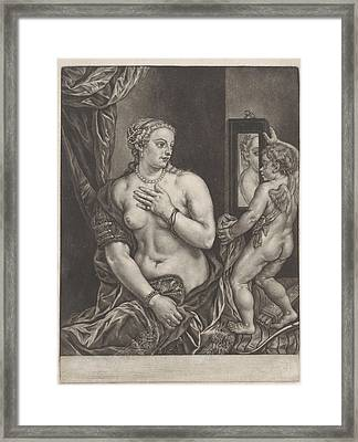 Venus And Cupid With A Mirror, Anonymous Framed Print by Anonymous
