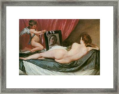 Venus At Her Mirror Framed Print by Diego Valezquez