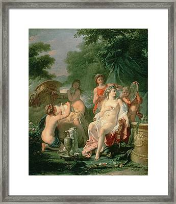 Venus At Her Toilet, 1760 Framed Print by Hugues Taraval