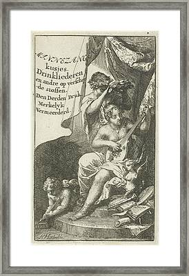Venus Crowned By Bacchus, Arnold Houbraken Framed Print by Arnold Houbraken And Lucas Cloppenburg (publisher)