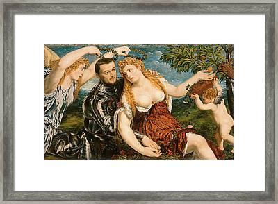 Venus Mars And Cupid Crowned By Victory Framed Print by Paris Bordon