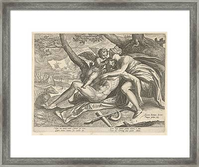 Venus Mourns The Death Of Adonis, Philips Galle Framed Print by Philips Galle