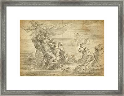 Venus Seated In Her Sea Chariot Suckling Cupid Alessandro Framed Print