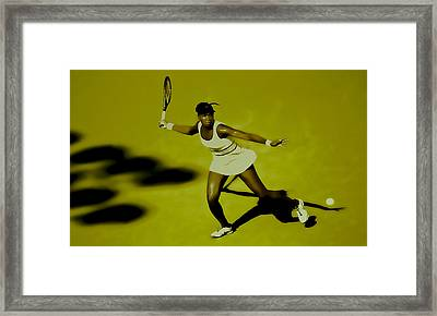 Venus Williams In Action Framed Print by Brian Reaves