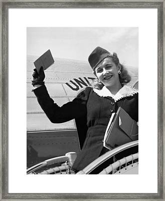 Vera Hruba Gets New Visa Framed Print by Underwood Archives