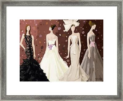 Vera Wang Bridal Dresses Fashion Illustration Art Print Framed Print