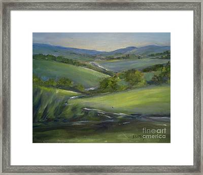 Framed Print featuring the painting Verdant Hills Of New York by Sally Simon