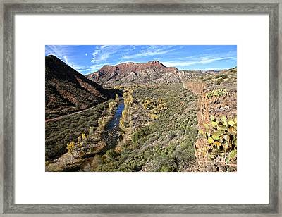 Verde River Along The Verde Canyon Railway With Fall Colors In Arizona Framed Print