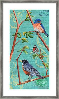 Verdigris Songbirds 1 Framed Print by Debbie DeWitt