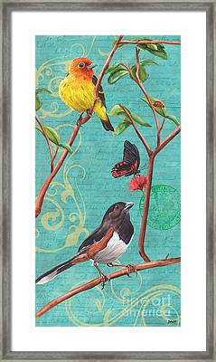 Verdigris Songbirds 2 Framed Print by Debbie DeWitt